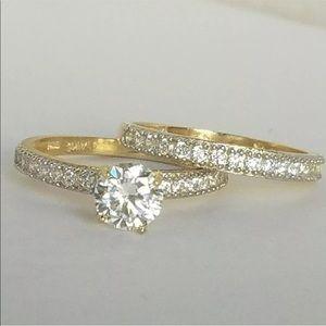 14k Gold 2 Piece Engagement Wedding Ring Band